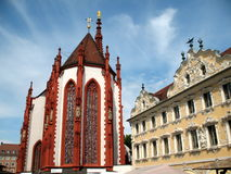 Würzburg Bayern. St. Mary`s Chapel Falkenhaus Würzburg Bayern Market Square Stock Photography