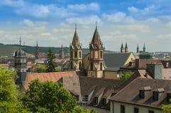 Würzburg Tyskland - flyg- sikt av horisonten Arkivbilder