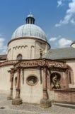 Würzburg Tyskland - inre borggård för Marienberg fästningstaty Arkivfoton