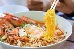 Würzige Nudel Meeresfrüchte Tomyam Lizenzfreies Stockfoto