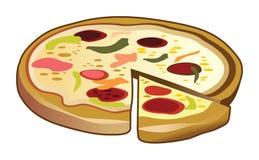 Würzige Pizza mit Pepperonis Lizenzfreie Stockfotografie