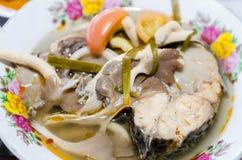 Würzige Suppe der thailändischen Art mit Fischen (tomyum) lizenzfreies stockbild