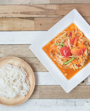 Würzige Suppennudeln Salat der Papaya Stockfoto