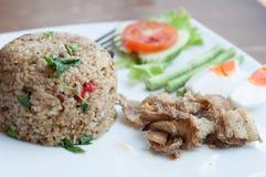 Würziger gebratener Reis mit gebratenen Fischen mit gesalzenem Ei lizenzfreies stockbild