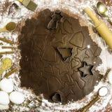 Würziger Nachtisch des Weihnachtswinters - Ingwerkeks Stockbild