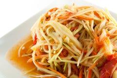 Würziger Salat der siamesischen Papaya oder wissen als SomTum Stockbilder