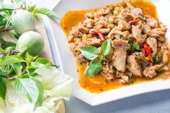Würziger Schweinefleischsalat der thailändischen Küche, Moo Nam Tok Stockbild