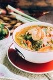 Würziger und Suppen-Curry mit Garnelen-und Gemüse-Omelett Stockfotografie