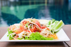 Würziges köstliches der grünen Küche des Papayasalats siamesischen Lizenzfreie Stockfotos