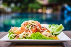Würziges köstliches der grünen Küche des Papayasalats siamesischen Lizenzfreies Stockbild
