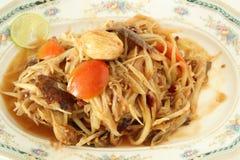 Würziges köstliches der grünen Küche des Papayasalats thailändischen Stockbilder
