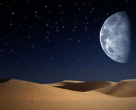 Wüste auf der Nacht Lizenzfreie Stockfotos