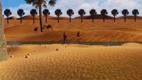 Wüste 3d mit Kamelen Lizenzfreies Stockfoto