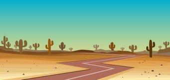 Wüste mit Kaktus lizenzfreies stockbild