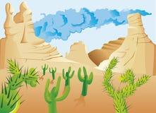 Wüste mit Kaktus Stockbilder