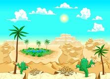 Wüste mit Oase. Stockbild