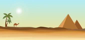 Wüste mit Pyramide lizenzfreie abbildung