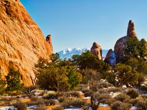 Wüste nach Schnee in den Bögen Stockfoto