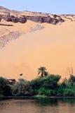 Wüste trifft den Nil Stockfoto
