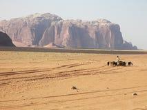 Wüsten-Wadi-Rum, Jordanien Stockfotografie