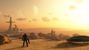 Wüsten-Zukunftsroman-Dorf Stockfoto