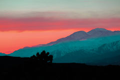 Wüstenberge bei Sonnenaufgang in Joshua Tree National Park Stockfotos