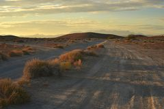 Wüstendämmerung auf Schotterwegen Stockbild