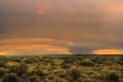 Wüstengebiet mit einem Feuer im Abstand Lizenzfreie Stockfotos