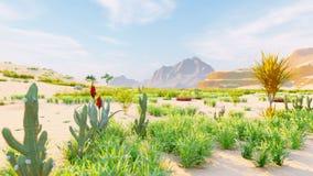 Wüstenhorizont Voller Tag Berge im Abstand, in den Sanddünen und im blauen Himmel Sch?ne Landschaft Sanddünen und heißer Himmel vektor abbildung