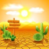 Wüstenlandschaft mit Holzschild und Kaktus Stockfotografie