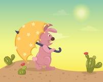 Wüstenlandschaft mit Kaninchen Stockbild