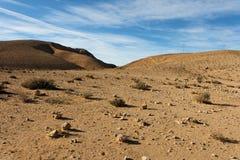 Wüstenlandschaft am Sonnenuntergang lizenzfreie stockfotos