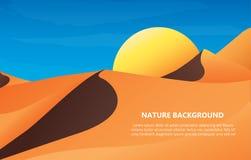 Wüstenlandschaftshintergrund-Vektorillustration Lizenzfreie Stockbilder