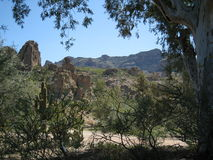 Wüstenwäsche und -berg lizenzfreies stockfoto