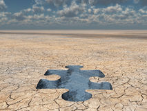 Wüstenwasserpuzzlespiel stockbild
