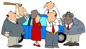 Wütend an einem Auto Lizenzfreie Stockbilder