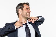 Wütende Atmung des Managers nicht, Unternehmensausstattung für Burnout erschließend stockbilder