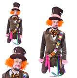 Wütende Hutmacher ` s verschiedene Gesichtsgefühle Nahaufnahmeporträt von SMI Stockfotografie