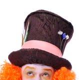 Wütende Hutmacher ` s verschiedene Gesichtsgefühle Nahaufnahmeporträt von SMI Stockfotos