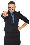 Wütende Managerfrau beschuldigen Sie Stockfotos