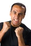 Wütender fälliger Mann im Weiß Stockfotos
