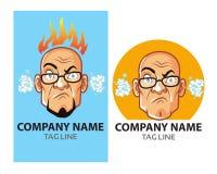 Wütender kahler Guy Logo stockbild