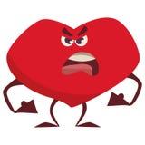 Wütendes schlechtes Herz, preßt die Fäuste zusammen und schilt lizenzfreie abbildung