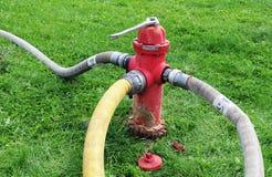 wąż elastyczny pożarniczy hydrant Obrazy Royalty Free