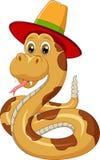 Wąż kreskówka jest ubranym kapelusz Zdjęcie Stock