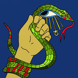 Wąż w jego ankh i ręce Obraz Stock