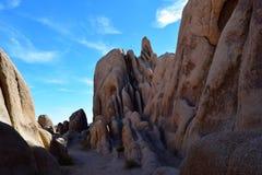 Wąska jar ścieżka przez strzępiastych skał w Joshua drzewa parka narodowego pustyni Obraz Royalty Free