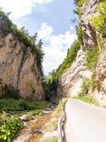Wąska motorowa droga wzdłuż halnej rzeki w wąwozie Rhodope góry Obraz Stock