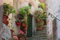 Wąska ulica dekorował z kwiatów garnkami w Vernazza miasteczku, Cinque Terre park narodowy, Włochy Obrazy Stock