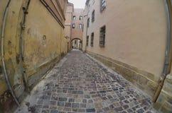 Wąska ulica z ścieżką brukowi kamienie Przejście między starymi dziejowymi wieżowami w Lviv, Ukraina obraz stock